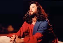Jesus praying in Gethsemane, looking up.